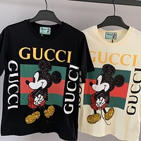 Gucci x Disney sequined Mickey crew neck half-sleeved T-shirt