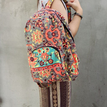 Backpack School Tribal Painted Bag Tribal Weekender bag Boho Hippie Ethnic Nepali Indian Hipster Bags Hippie Gypsy School Purse Bag Gift