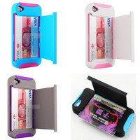 Kickstand stand Soft Double Layer with Card location Case for Iphone 5