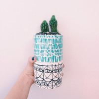 Turquoise Striped Tumbler: turquoise and white and painterly stripes