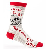 Chilidogs are a Man's Best Friend Men's Quirky Crew Socks Hipster/Nerdy/Geeky/Trendy, Funny Novelty Socks with Cool Design, Bold/Crazy/Unique Gray Dress Socks