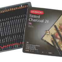 Derwent Tinted Charcoal Pencils, 4mm Core, Metal Tin, 24 Count (2301691)