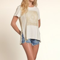 Lace Detailed Graphic Tee