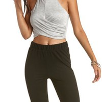 Racer Front Wrap Crop Top by Charlotte Russe