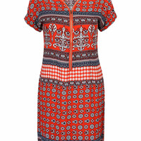 Red Zipper V-neck Mixed Folk Print Shift Dress