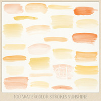 Watercolor clipart strokes banners (100 pc) orange yellow saffron tangerine. hand painted for logo design, blogs, cards, printables wall art