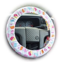 Cute Cupcake print cotton car steering wheel cover Delicious