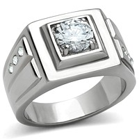 Mens Wedding Rings TK313 Stainless Steel Ring with AAA Grade CZ