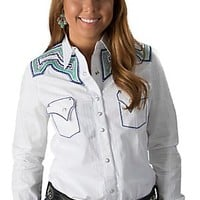 Rock 47 by Wrangler Women's White Tonal Plaid with Blue and Green Stitching Long Sleeve Western Shirt