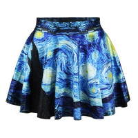 Women Fashion Retro Vintage Digital Print Starry Night Jake Skater Skirt