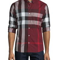 Exploded Check Long-Sleeve Sport Shirt, Claret
