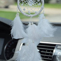 Gift for Mom, Small Car Dream Catcher, Rear View Mirror Charm, White Boho Dreamcatcher, Car Accessory