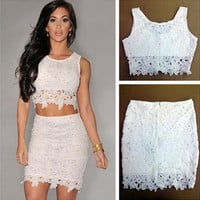 White Lace Two Piece Homecoming Dresses,Mini Short Homecoming Dresses
