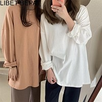 New 2020 Autumn Winter Women's Bottoming Oversize Solid Multi Colors Casual Fashionable T-shirt Minimalist Long Sleeve Tops T601
