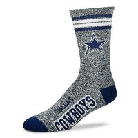 DALLAS COWBOYS MARBLED GREY CREW SOCKS SIZE YOUTH NEW FOR BARE FEET