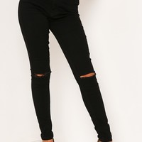 BLACK RIPPED KNEE SKINNY DENIM JEANS