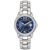 Ladies' Citizen Eco-Drive Silhouette Crystal Cobalt Blue Dial Watch