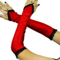 Long Red Satin One Finger / Fingerless Gloves