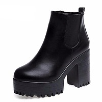Women Square Heel Platforms Leather Thigh High Pump Boots