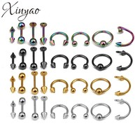XINYAO 2017 16pcs/lot Surgical Steel Nose Rings Body Piercing For Women Punk Earring Stud Hoops Nariz Percing Nez Piercing