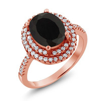 3.80 Ct Oval Black Onyx 18K Rose Gold Plated Silver Ring