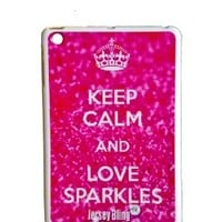 """ZEBRA Jersey Bling® Ipad Mini KEEP CALM AND SPARKLE, Glitter, or Pink, Silicone, TPU, Protector, Defender Back Cover, Case with 1 FREE 4"""" Metallic Jersey Bling® Stylus Touch Pen (Keep Calm and Love Sparkles (Pink Glitter))"""