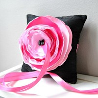 Black Dupioni Silk Ring Bearer's Pillow with Pink and Fuchsia Accent Flower - Ready to Ship