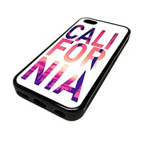 For Apple Iphone 5 or 5s Cute Phone Cases for Girls White California Sunset Typography Cali Design Cover Skin Black Rubber Silicone Teen Gift Vintage Hipster Fashion Design Art Print Cell Phone Accessories