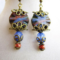 Blue & Burnt Sienna Czech Glass Coin and Layered Bronze Filigree Boho Victorian Style Earrings