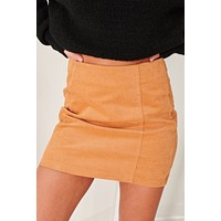 """Not A Toy"" Corduroy Mini Skirt (Camel)"