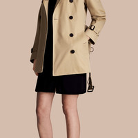Stretch Cotton Skirted Trench Jacket