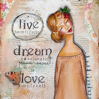 Live Dream Love, Whimsical Art, Mixed Media Art, Inspirational Quote, Pastel, Positive Affirmation, Girl Wall Art, Collage Art, Giclée Print