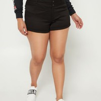 Plus Black Three Button Fly Shorties