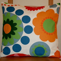 Colourful floral cushion cover in red green orange blue and navy