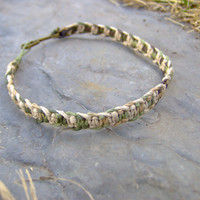 Mens Camo Hemp Bracelet or Anklet  Phish Bone Knot by KnottyanNice
