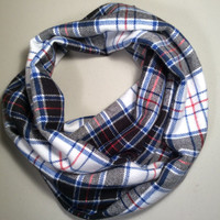 Handmade Infinity Scarf Plaid Flannel, Child, Children, Kid's Size, Double Layer Super Warm!  Christmas Gift