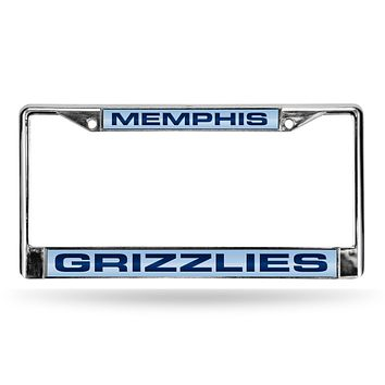 Porsche License Plate Frame Grizzlies Laser Chrome Frame Light Blue Background With Navy Letters