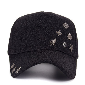 NEW Fashion Winter Warm Snapback Hat with Floral Decorated