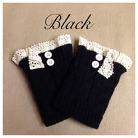 In Style Cable Knit Lace Motif Button Accent Black Boot Topper, Boot Cuff, Women's Accessories