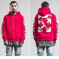 DCCK Off White X  Rose Hooded  Unisex Hoodie Red
