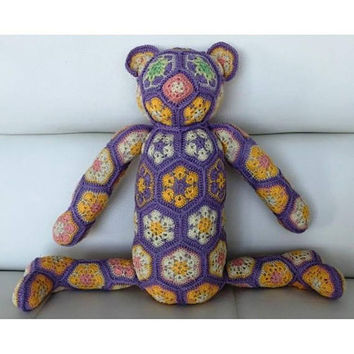 Lovely crocheted toy bear from granny squares, Ready to ship, amigurumi stuffed, modern design eco friendly animal art doll, CE certified