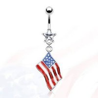 """Amazon.com: 14g Dangling Flag of America Sexy Belly Button Navel Ring Dangle Body Jewelry Piercing with Clear Star Cz and Surgical Steel Bar 14 Gauge 3/8"""" Nemesis Body JewelryTM: Everything Else"""