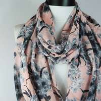 Chiffon pink scarf,infinity scarf, scarf, scarves, long scarf, loop scarf, gift