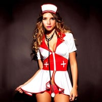 Women's Sexy Pin-Up Nurse Costume Hot Plus Size Halloween Costume = 1958651716