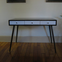 Mid Century Inspired (Three-Drawer Desk). Writing / Study / Computer Desk. Solid Wood. Custom Sizes Available