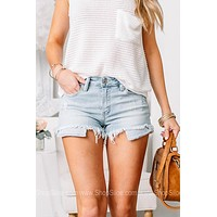 I Walk The Line Striped Pocket Denim Shorts