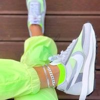 Sacai x Nike LDV Waffle Pine Green Grey running shoes