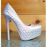 Alba Winni Silver Metallic Thread Diamond Design Platform Pump Shoe 7 - 9
