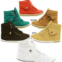 WOMENS HIGH TOP PUMPS LADIES LACE UP BOOTS GIRLS PLIMSOLLS TRAINERS SHOES SIZE