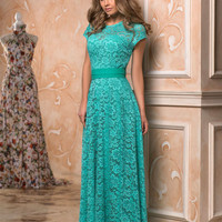 Lace evening gown, special occasion dress, Mint Maxi dress, Long Formal Dress, Dress lace, party dress, Evening dress, short sleeve dress
